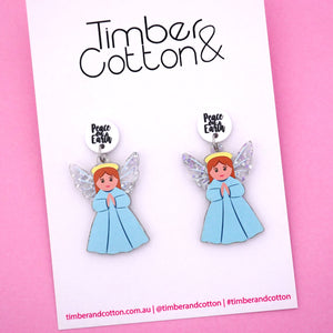 'Peace On Earth' Christmas Angel Dangle Earring - Timber & Cotton
