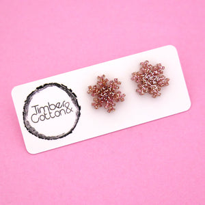 Snowflake 'Rose Gold Glitter' Stud Earrings - Timber & Cotton
