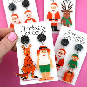 Santa & Elf Christmas Dangle Earring - Timber & Cotton
