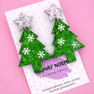 Christmas Tree 'Snowflake' Dangle Earring- Nanay Noemi