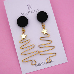 EXCLUSIVE Wire Christmas Tree 'Black & Brass' Dangle Earring- Marniie