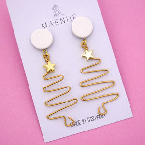EXCLUSIVE Wire Christmas Tree 'White & Brass' Dangle Earring- Marniie