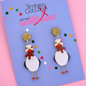 Cheeky Charlie Christmas Dangle Earring - Timber & Cotton + She's that Wallflower
