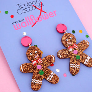 Gingerbread Man with Pink Mirror Dangle Earring - Timber & Cotton + She's that Wallflower