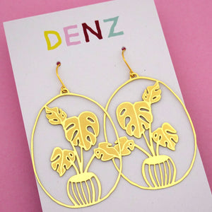 Monstera Pot Plant Hook Dangle Earring in Gold- DENZ
