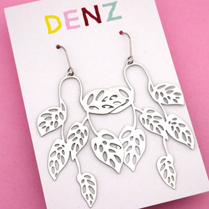 Swiss Cheese Plant Hook Dangle Earring in Silver- DENZ