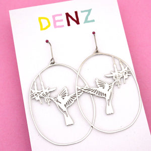 Hummingbird Dangle Earring in Silver- DENZ