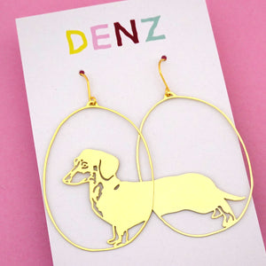 Dachshund Sausage Dog Dangle Earring in Gold- DENZ