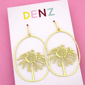 Daisy Dangle Earring in Gold- DENZ