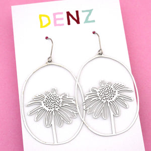Daisy Dangle Earring in Silver- DENZ