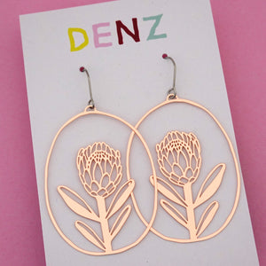 Protea Dangle Earring in Rose Gold- DENZ