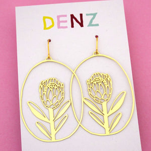 Protea Dangle Earring in Gold- DENZ