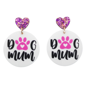Dog Mum Printed Dangle Earrings