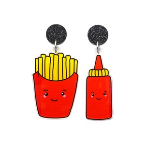 'Fries & Tomato Sauce' Food Dangle Earring