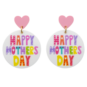 Happy Mother's Day Printed Dangle Earrings
