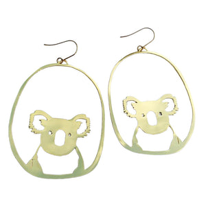 Koala Hook Dangle Earring in Gold- DENZ