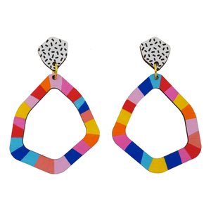 Loopy Large Geo 'Colour 2' Hand Painted Wood Dangle Earring- Kathleen Benham