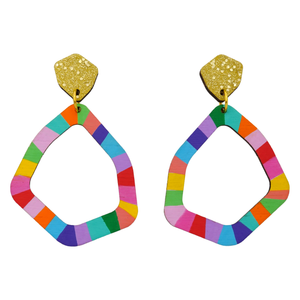 Loopy Large Geo 'Colour 4' Hand Painted Wood Dangle Earring- Kathleen Benham