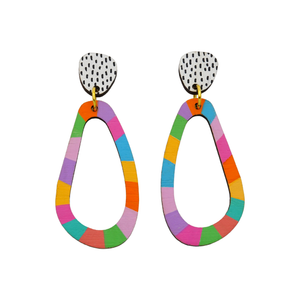 Loopy Wobbly 'Colour 1' Hand Painted Wood Dangle Earring- Kathleen Benham