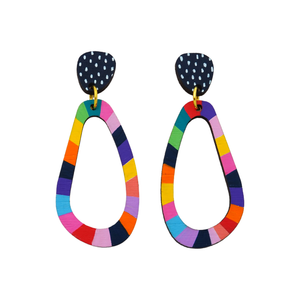 Loopy Wobbly 'Colour 2' Hand Painted Wood Dangle Earring- Kathleen Benham