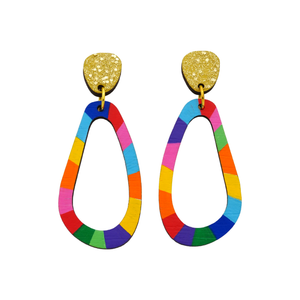 Loopy Wobbly 'Colour 3' Hand Painted Wood Dangle Earring- Kathleen Benham