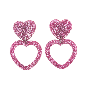Heart Dangle Earring- Light Pink Glitter