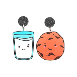 'Milk & Cookie' Food Dangle Earring