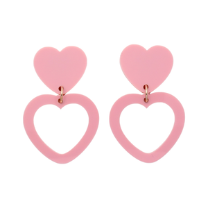 Heart Dangle Earring- Blush Pink