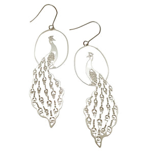 Peacock Hook Dangle Earring in Silver- DENZ