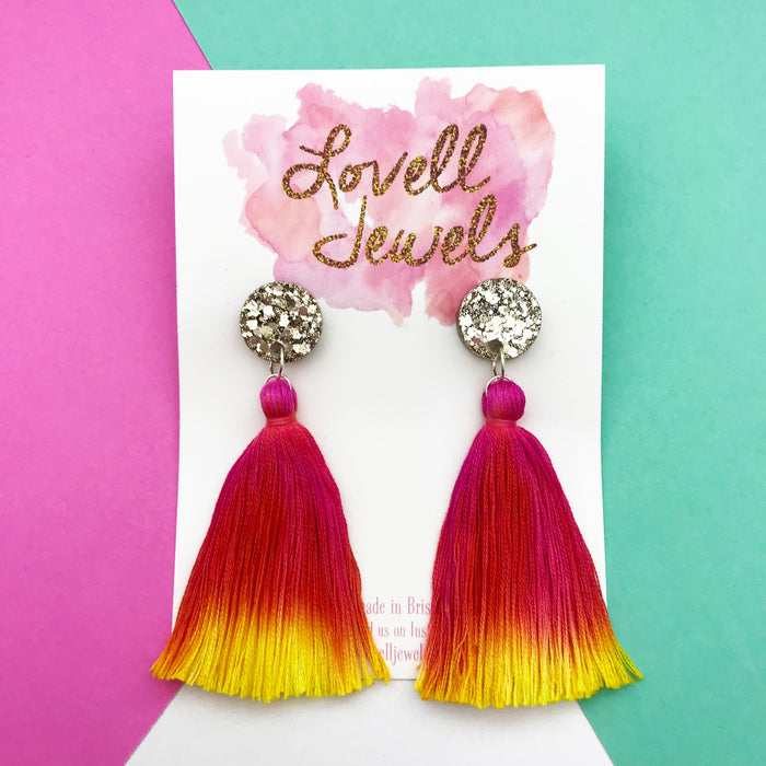 Hand Dyed Tassel Dangles Design 10- Lovell Jewels