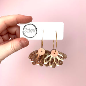 Oopsy Daisy Hoops- Blush Pink, Rose Gold Mirror & Fine Rose Gold Glitter
