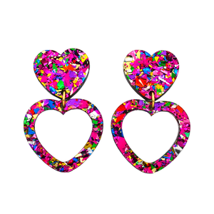 Heart Dangle Earring- Pink Rainbow Flake