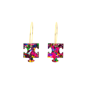Rainbow Flake Puzzle Hoop Dangle Earrings