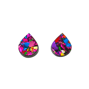 Rainbow Flake Rain Drop Stud Earrings