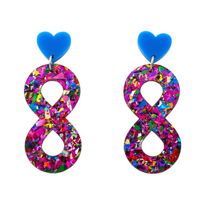 Autism Rainbow Infinity Symbol Dangle Earrings