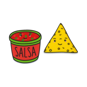 'Salsa & Corn Chip' Food Statement Stud Earring
