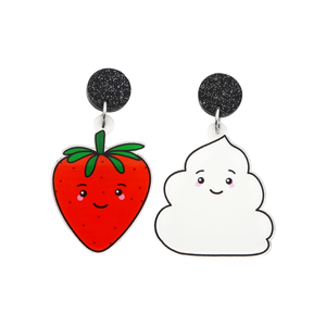 'Strawberry & Cream' Food Dangle Earring