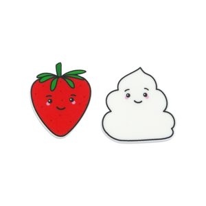 'Strawberry & Cream' Food Statement Stud Earring