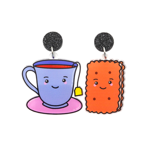 'Tea & Biscuit' Food Dangle Earring