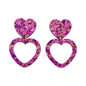 Heart Dangle Earring- Unicorn Flake