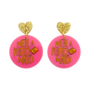 'We're A Perfect Match' Love Pun Dangle Earring