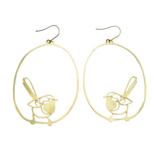 Willie Wagtail Hook Dangle Earring in Gold- DENZ