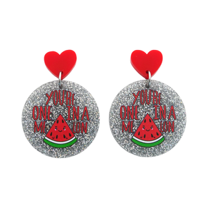 'You're One In A Melon' Love Pun Dangle Earring