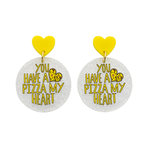 'You Have A Pizza My Heart' Love Pun Dangle Earring