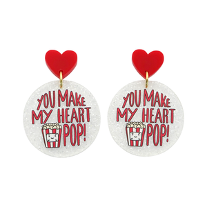 'You Make My Heart Pop' Love Pun Dangle Earring