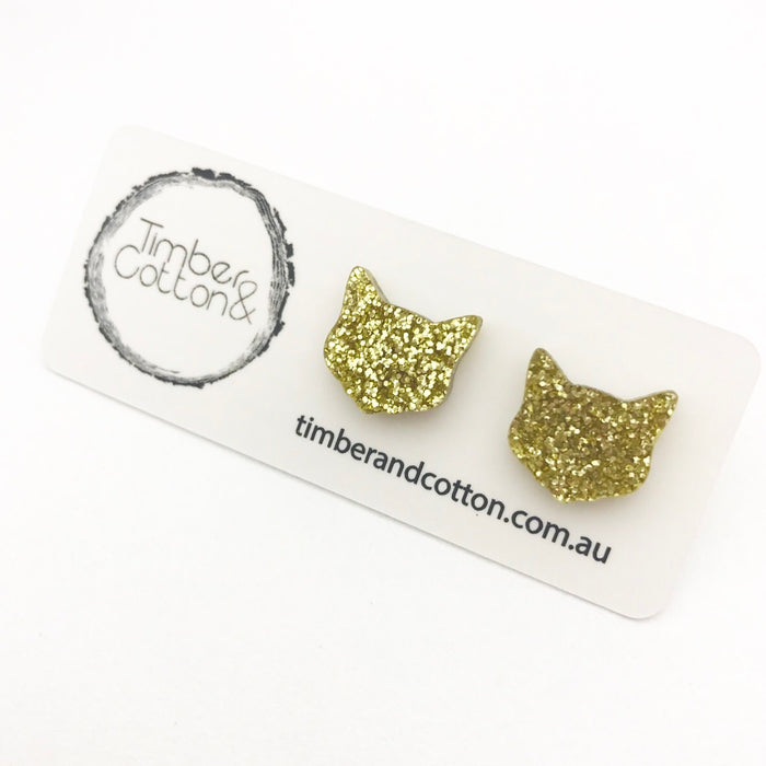 Cat Face- Gold Glitter