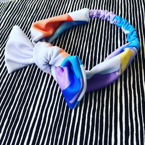 Blue Opposites Abstract Bow Headband- Karla Cola