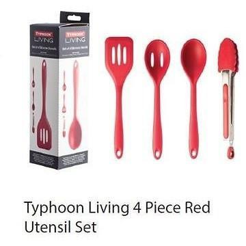 Typhoon Living 4 Piece Kitchen Utensil Set Red, Homeware4u.com