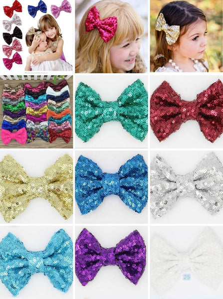 Sparkly Shiny Fancy Kids Sequin Girls bows with clip pins 3, 4, 5, 6 inch New Various, Homeware4u.com