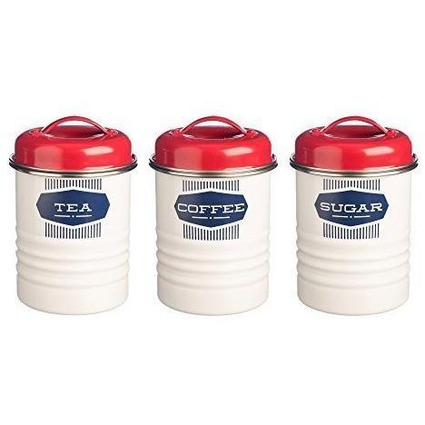 Typhoon Vintage Belmont 3 Piece Tea Coffee Sugar Storage White, Homeware4u.com